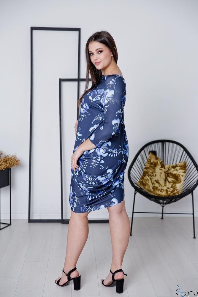 Granatowa Sukienka PAGERA Plus Size