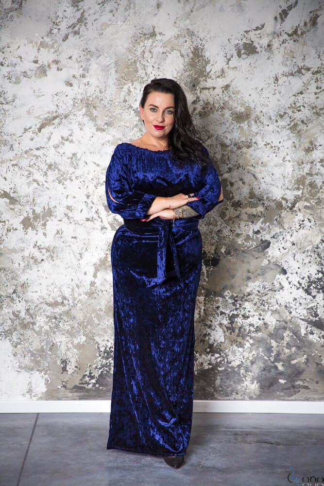 Granatowa Sukienka PIENA Plus Size Maxi