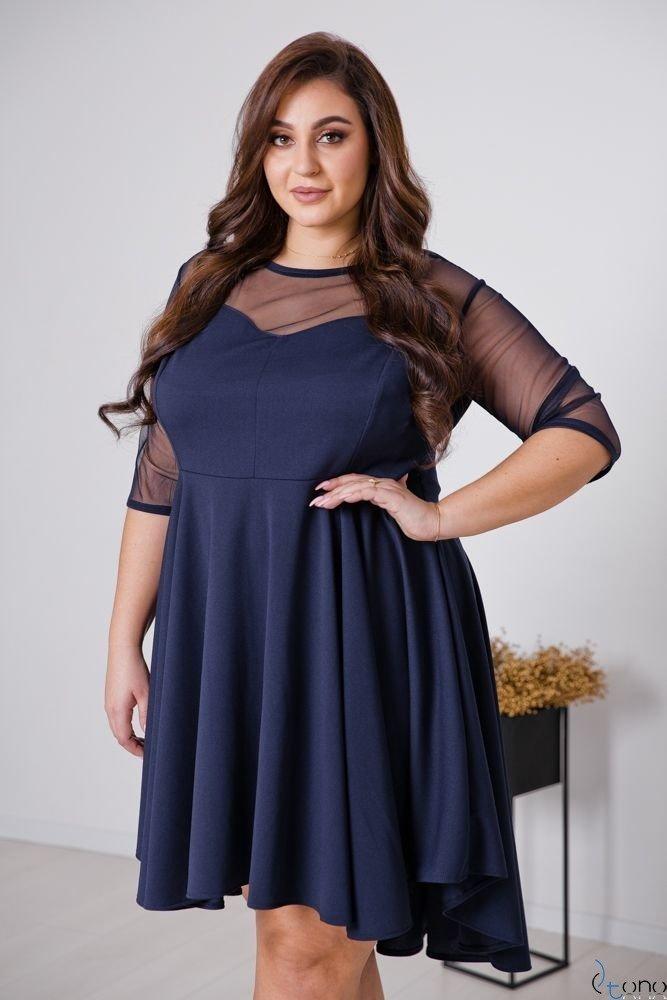 Granatowa Sukienka VELOSIA Plus Size