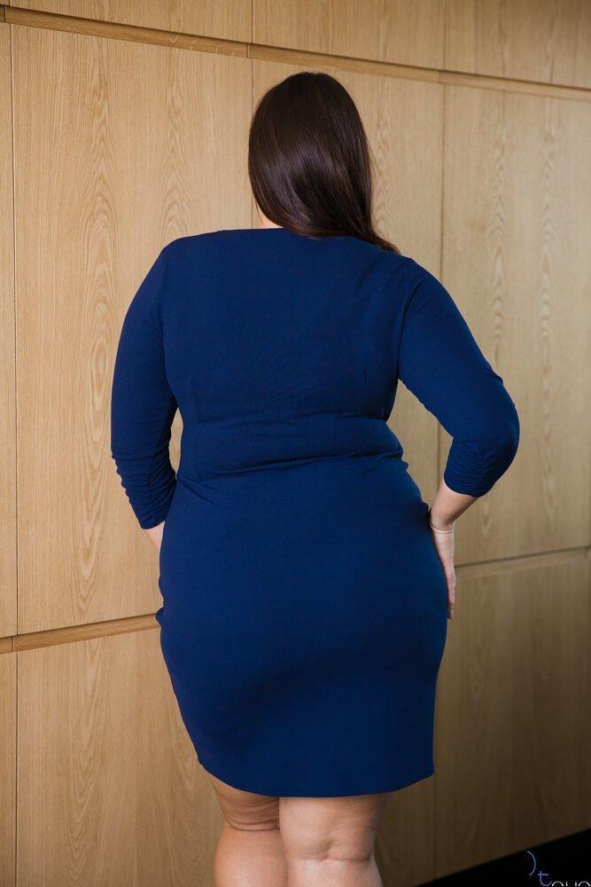 Granatowa Sukienka VISPER Kopertowa Plus Size