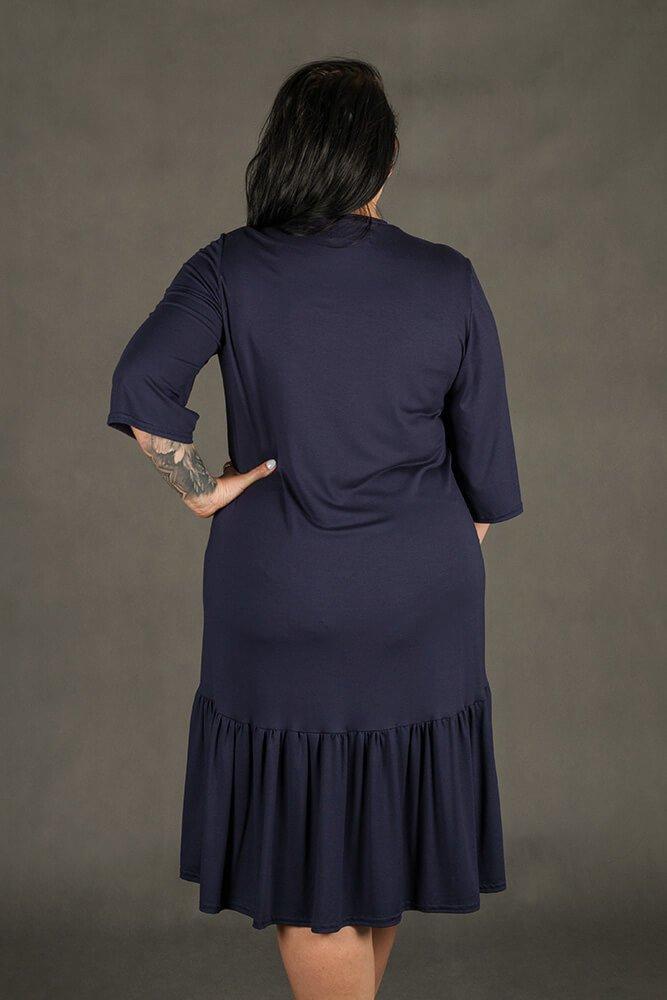 Granatowa Sukienka VOLIA Cekiny Plus Size