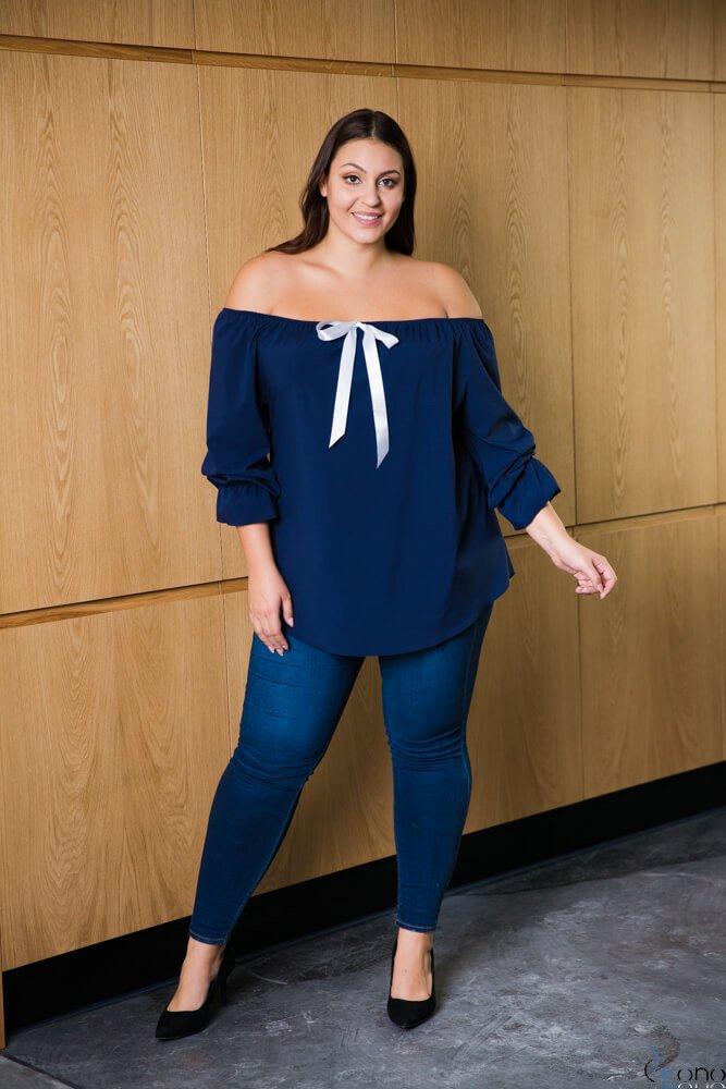 Granatowa bluzka damska KARBATA Plus Size