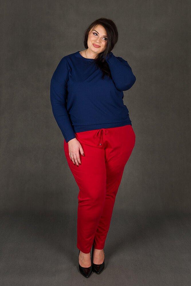 Granatowa bluzka damska REBEKA Duże rozmiary Asymetryczna