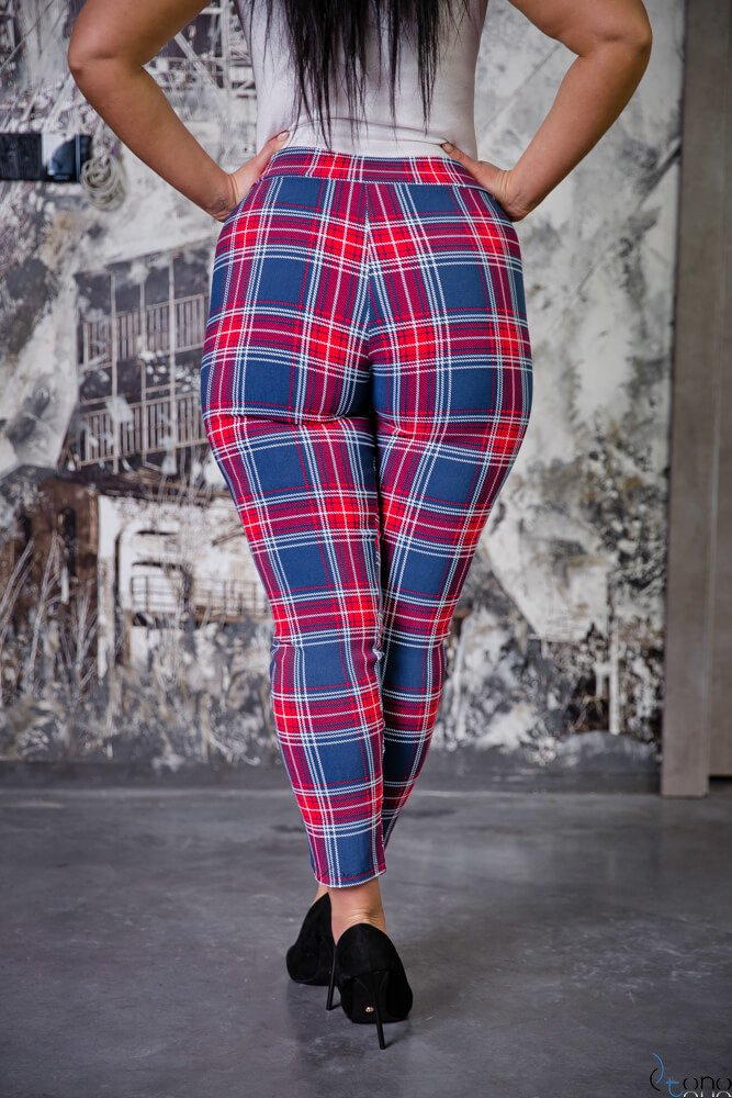 Granatowe Spodnie AZURO Plus Size Kratka