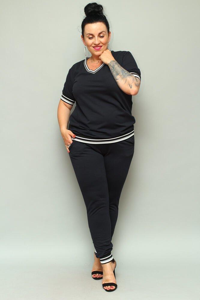 Granatowe Spodnie NILDA Dresowe Plus Size