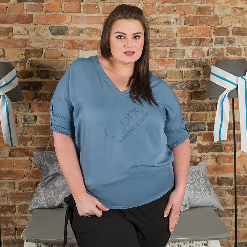 Jeansowa Bluzka damska COLOMBA Kimono Plus Size