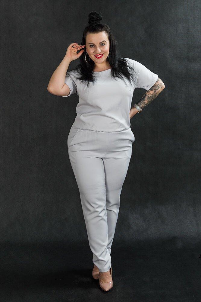 Kombinezon NERRA Elegancki Plus Size Szary