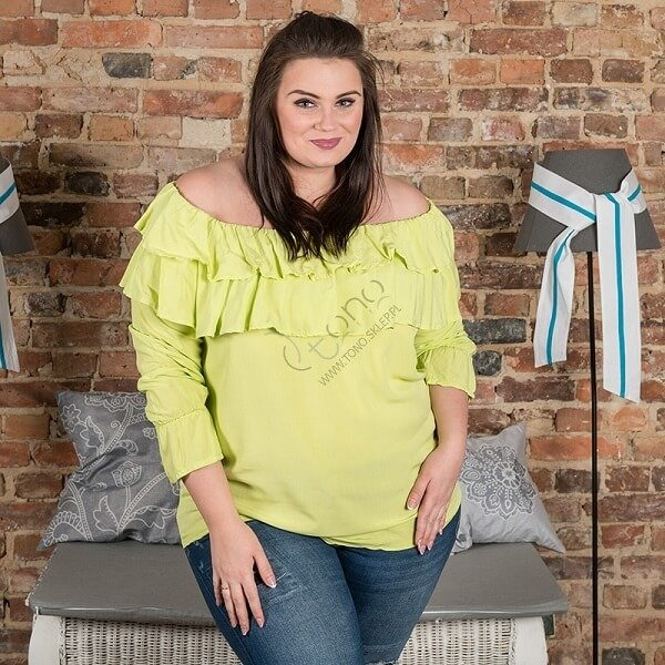 Limonkowa Bluzka BASTIA Hiszpanka Koszulowa Modna Plus Size
