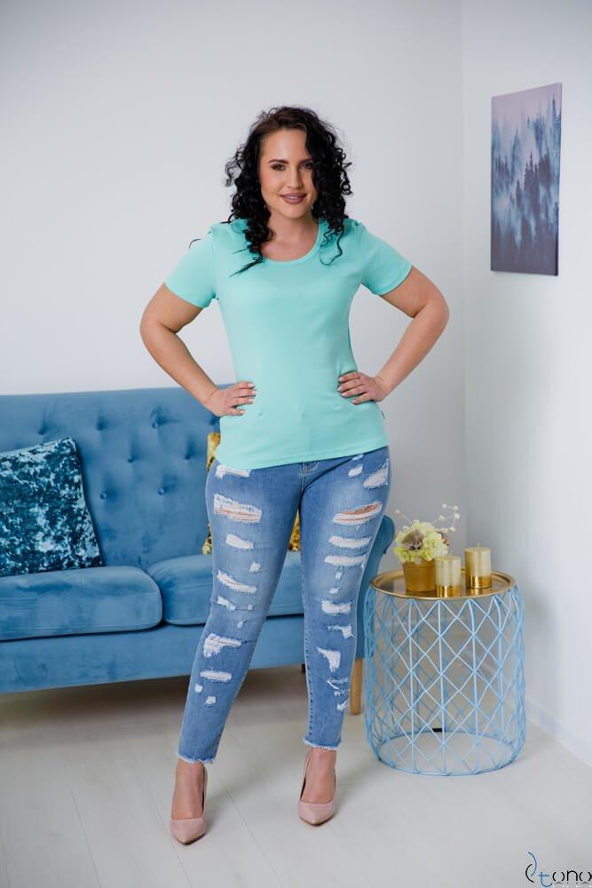 Miętowa Bluzka damska DETRRA T-Shirt Plus Size