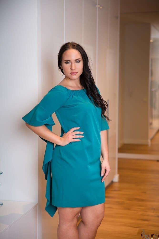 Niebieska Sukienka ALYSS Plus Size Wizytowa