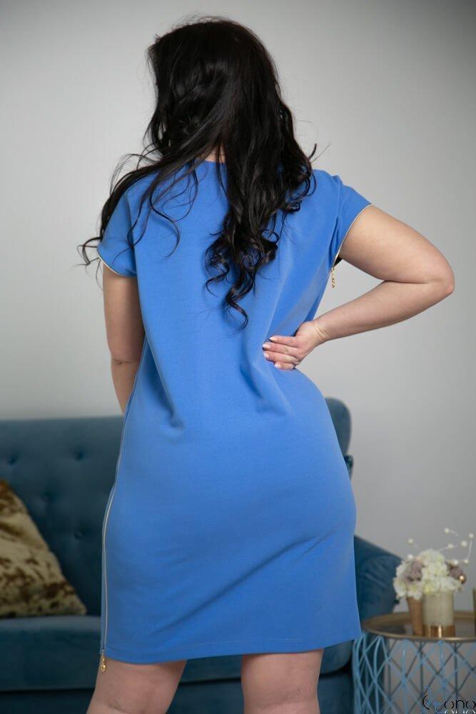 Niebieska Sukienka CARBONA Plus Size