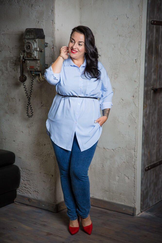 Niebiesko-Biała Koszula BOTTA Plus Size Paski