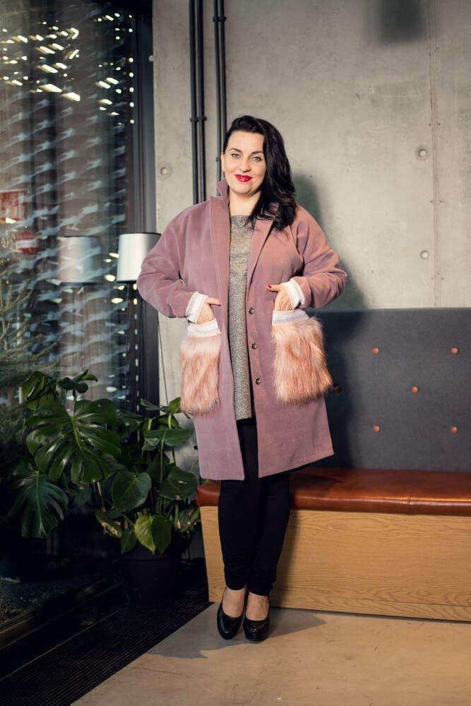 Płaszcz FURLA Flauszowy Plus Size wrzos