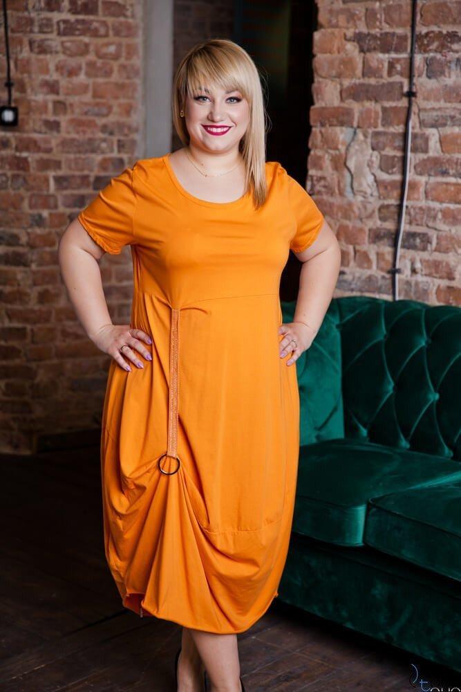 Pomarańczowa Sukienka ROLER Plus Size