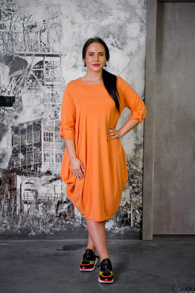 Pomarańczowa Sukienka SAYANA Plus Size