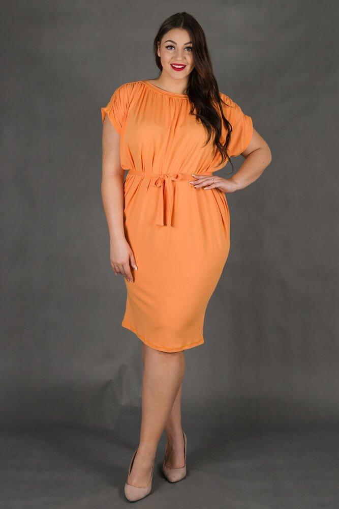 Pomarańczowa Sukienka SEMPRE Plus Size Drapowana