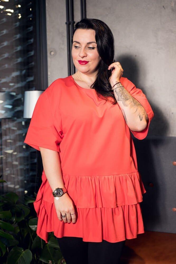 Pomarańczowa bluzka damska ONDA falbany Plus Size