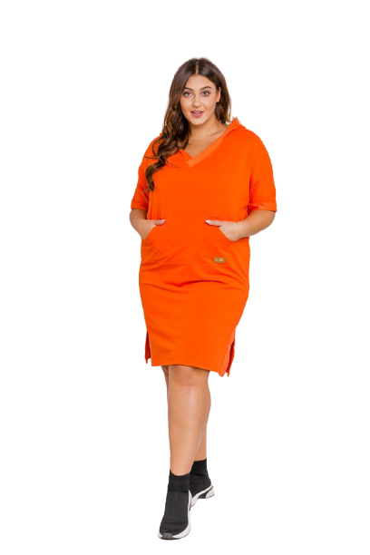 Pomarańczowa sukienka BORRO PlusSize