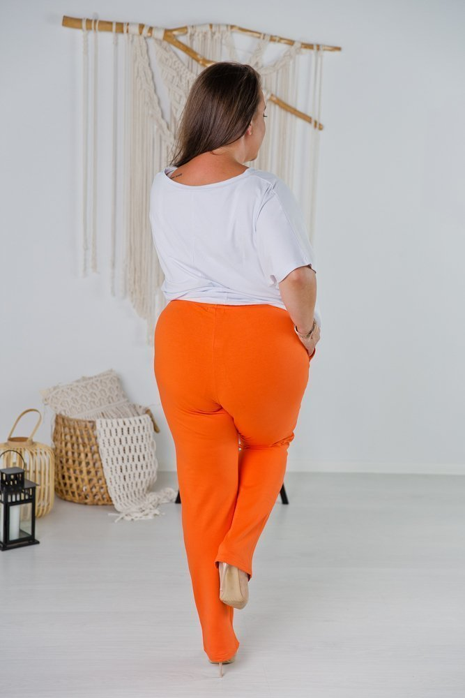 Pomarańczowe Spodnie PAIS Plus Size