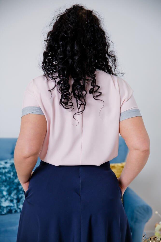 Pudrowo-różowa Bluzka CAREN Plus Size