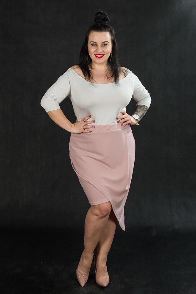 Różowa Spódnica damska Plus Size SENTIDA Asymetryczna