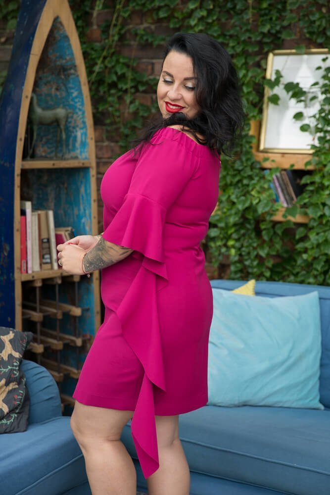 Różowa Sukienka ALYSS Plus Size Wizytowa