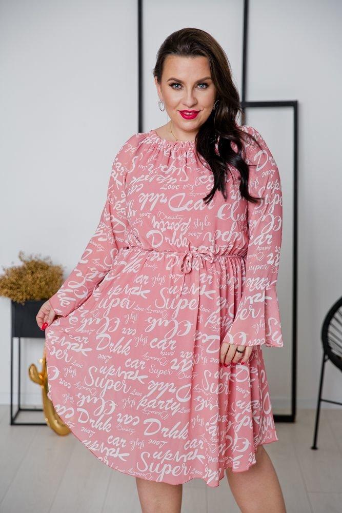 Różowa Sukienka LONTANA Plus Size