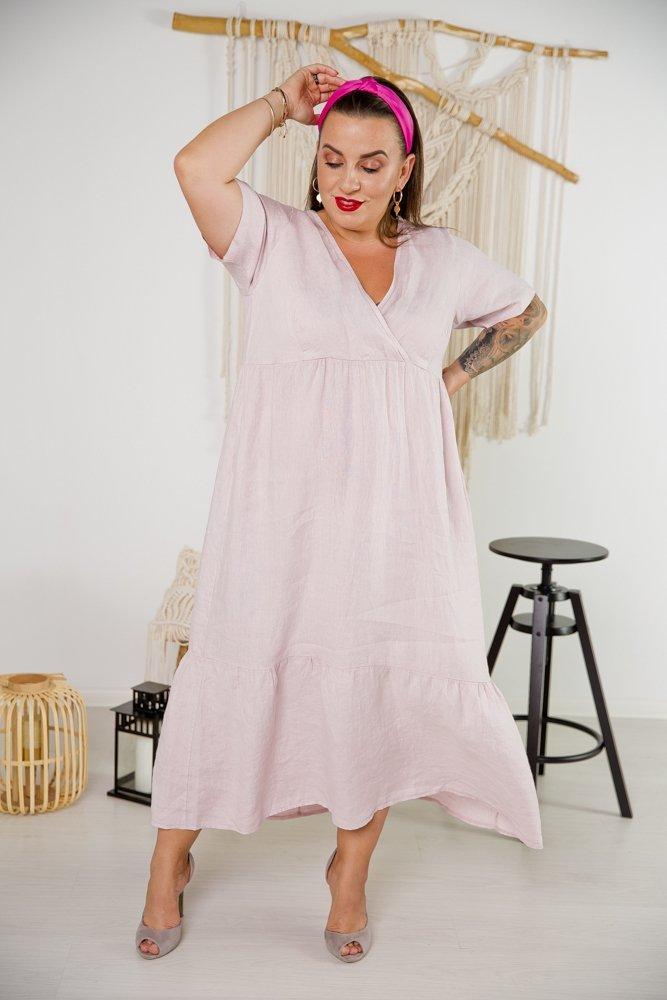 Różowa Sukienka PAOLO Plus Size