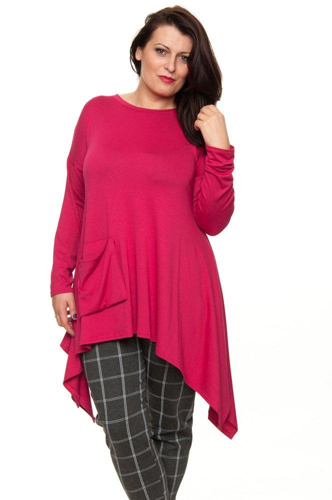 Różowa Tunika HARIET Rozkloszowana Kieszonka Plus Size