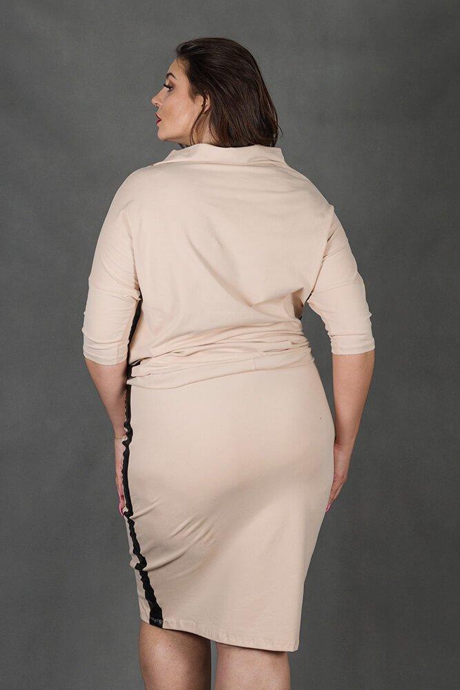 Różowy Komplet RIA Bluzka Spódnica Plus Size