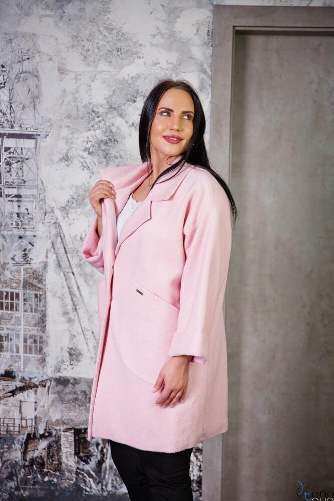 Różowy Płaszcz HOKER Plus Size