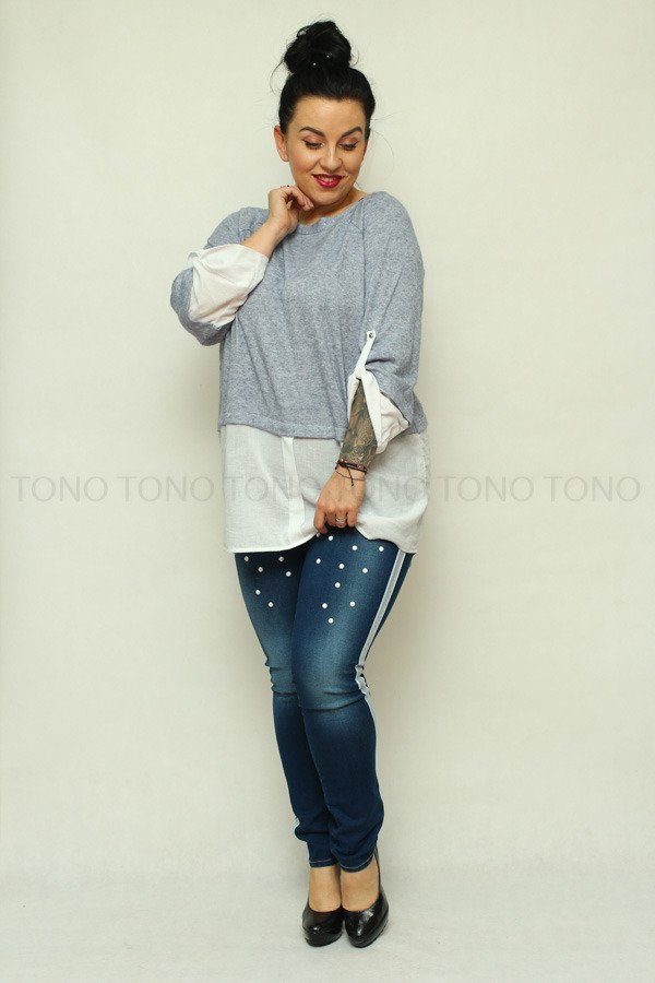 Spodnie damskie jeansowe PORTA perełki Lampas