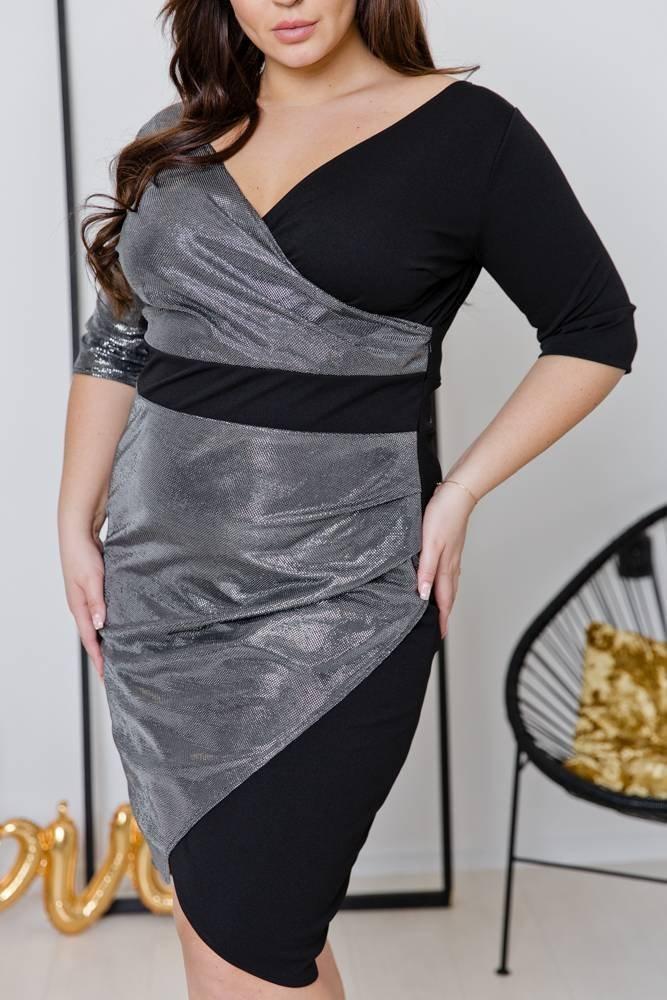 Srebrna Sukienka DRIMA Plus Size