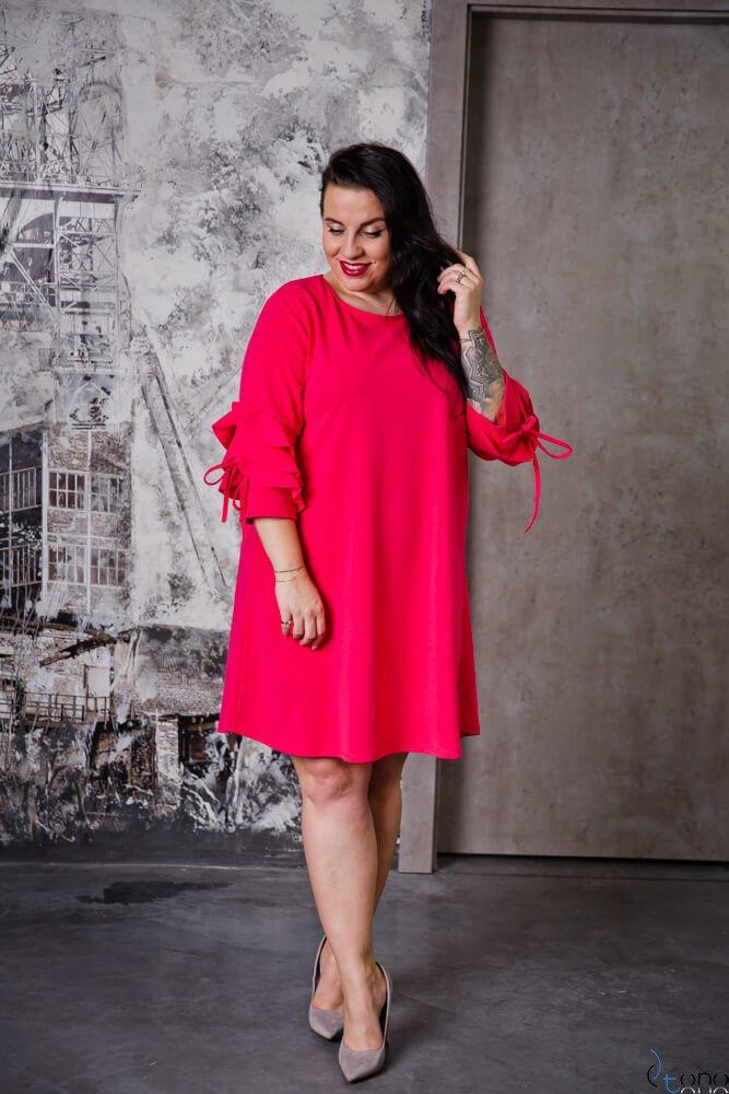Sukienka AVRIL Fuksja Plus Size