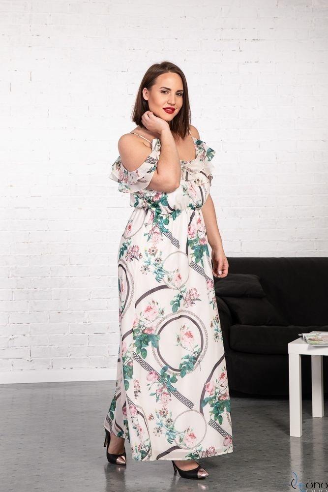 Sukienka DOREN Ecru Plus Size