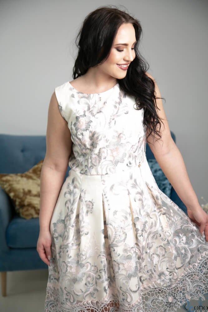 Sukienka GENIO Ecru Plus Size