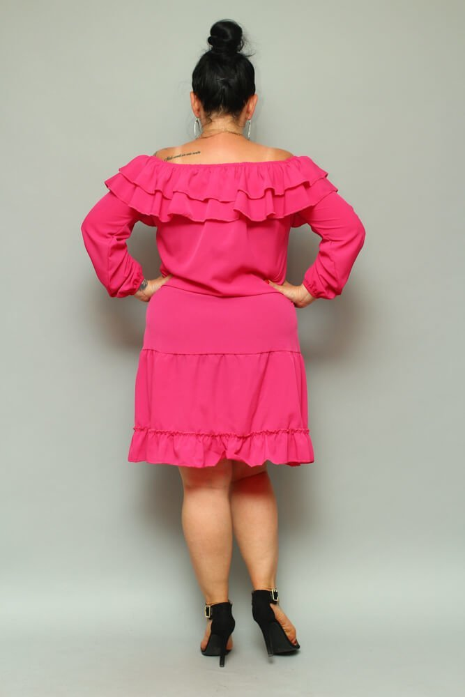Sukienka LAKKI Hiszpanka Plus Size Fuksja