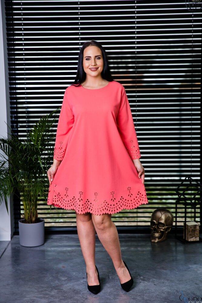 Sukienka STOFFA Łosoś Plus Size