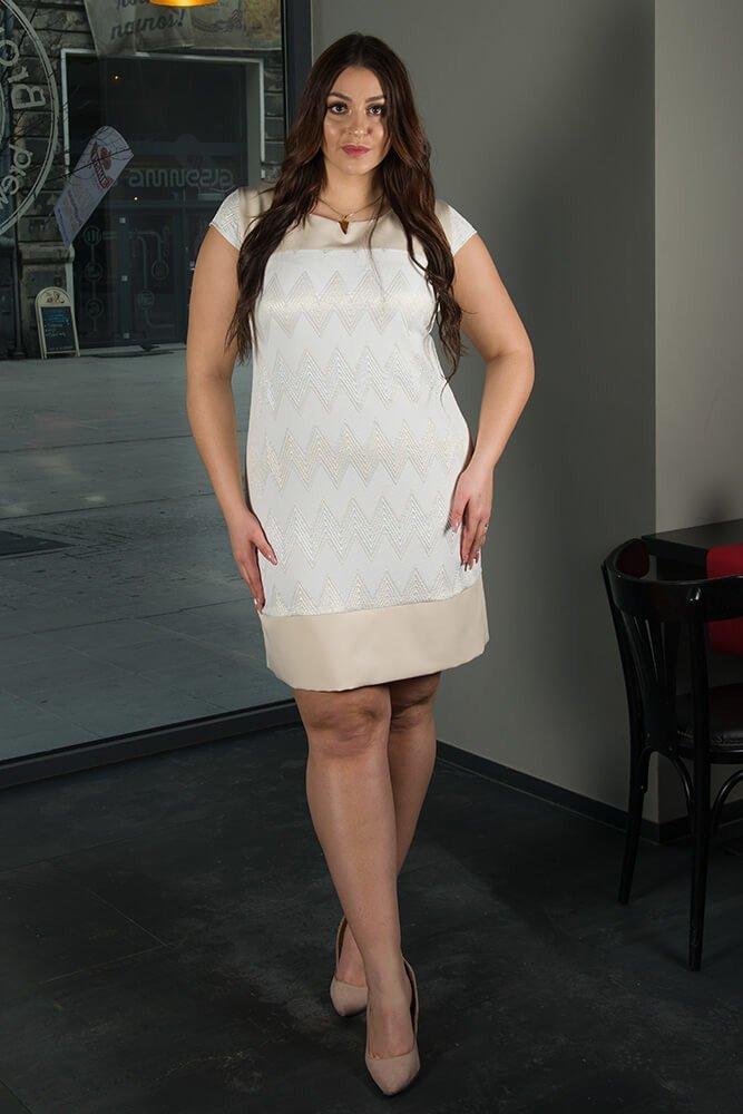 Sukienka Wizytowa LATIKA Plus Size zygzaki wzór 1