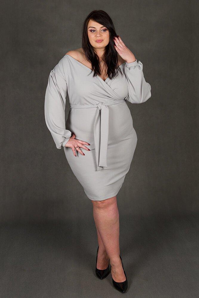 Szara Sukienka ASHLEY Plus Size Zmysłowa
