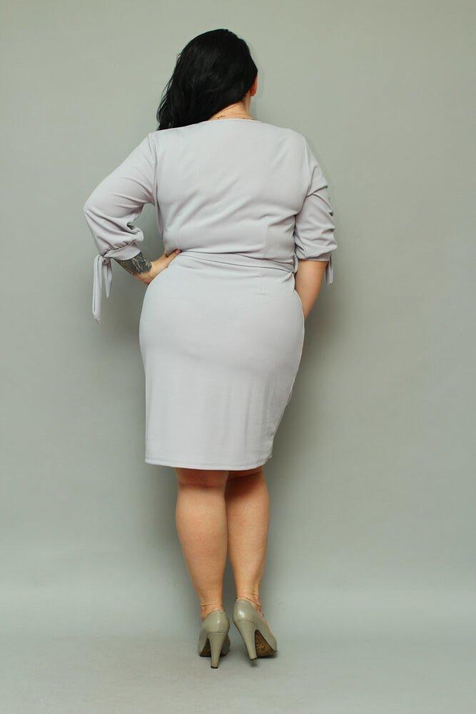 Szara Sukienka CIARRA Kopertowa Plus Size