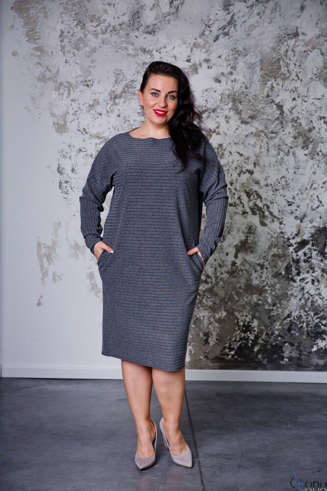 Szara Sukienka MAGNETO Plus Size