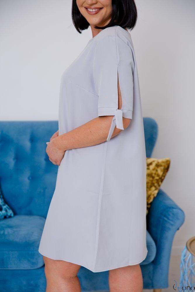 Szara Sukienka SAFANA Plus Size