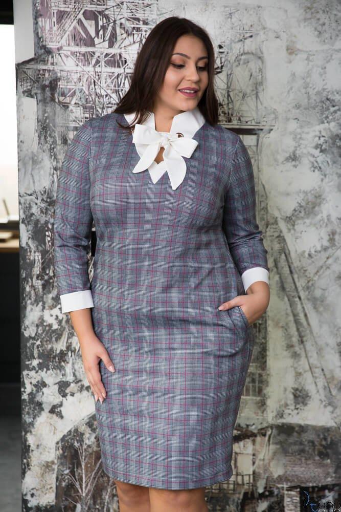 Szara Sukienka TREGA Kratka Plus Size