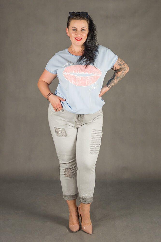 Szare Spodnie VANILL Designerskie Plus Size