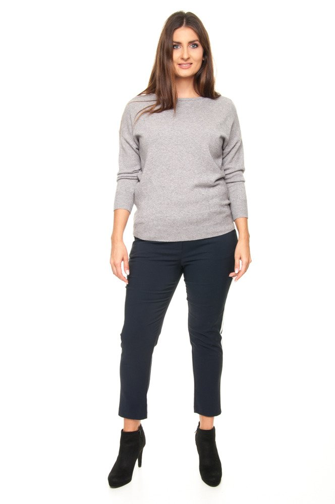 Szary Sweter DRACO Wiązany Zmysłowy Designerski Plus Size