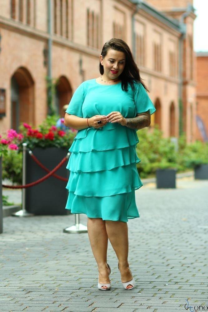 Szmaragdowa Sukienka ORINA Plus Size