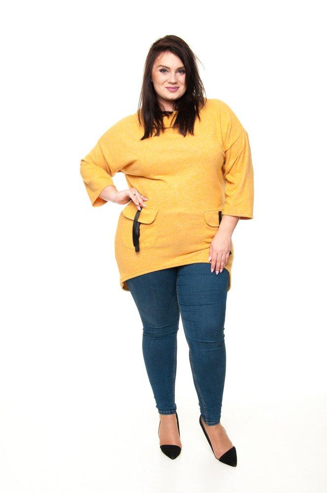 Tunika PALOMA Kieszenie Designerska Oversize melanż żółta XXL