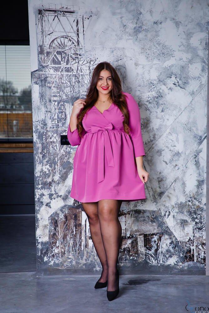 Wrzosowa Sukienka MAKAN Kopertowa Plus Size