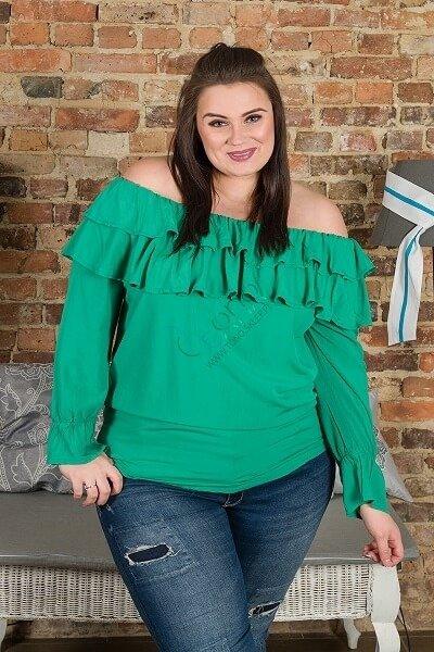 Zielona Bluzka BASTIA Hiszpanka Koszulowa Modna Plus Size